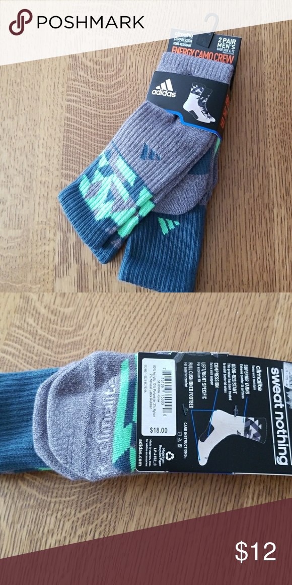 a8688d2c2 Adidas 2 pack of energy camo crew socks NWT, Adidas Climalite compression,  odor-resistant performance cushioned socks. Greens & grey. Men's size 6-12.  ...