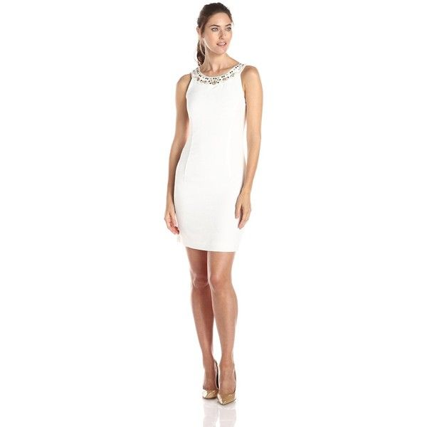 97597b00fd3a0 Sandra Darren Women's Sleeveless Embellished Neck Shift Dress ($63) ❤ liked  on Polyvore featuring dresses, white sleeveless dress, beaded dress, ...