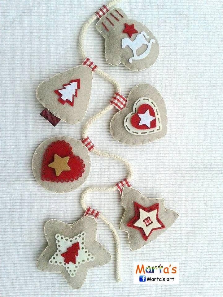Guirnalda de adornos de navidad en fieltro felt - Guirnalda de navidad ...