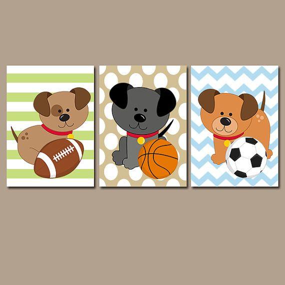 Dogs Wall Art Puppy Sports Decor Baby Boy Nursery Decor