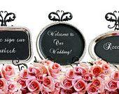 WEDDING SIGNS Magnetic Chalkboards SET Blackboard Weddings Reception Chalk Board Menu Weddings Rustic Shabby Chic French Bridal Shower. $29.00, via Etsy.