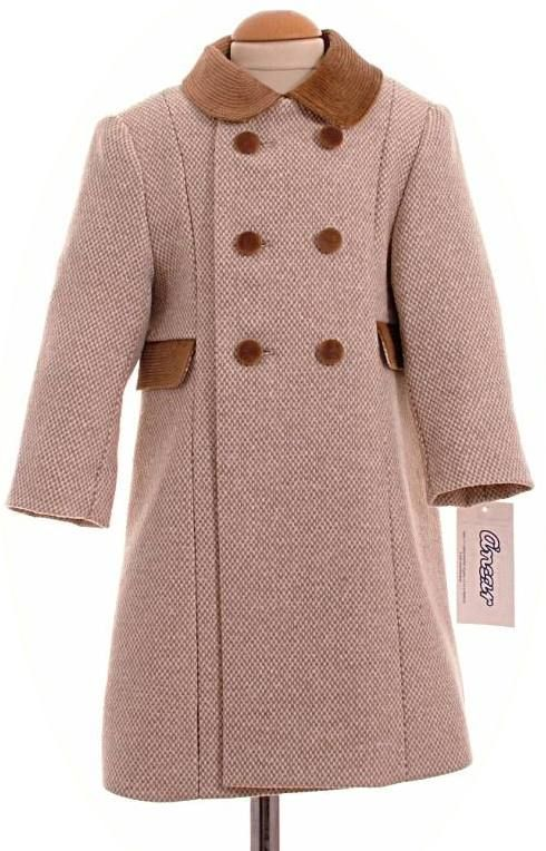 Child's traditional coat in camel check | Girls Traditional ...