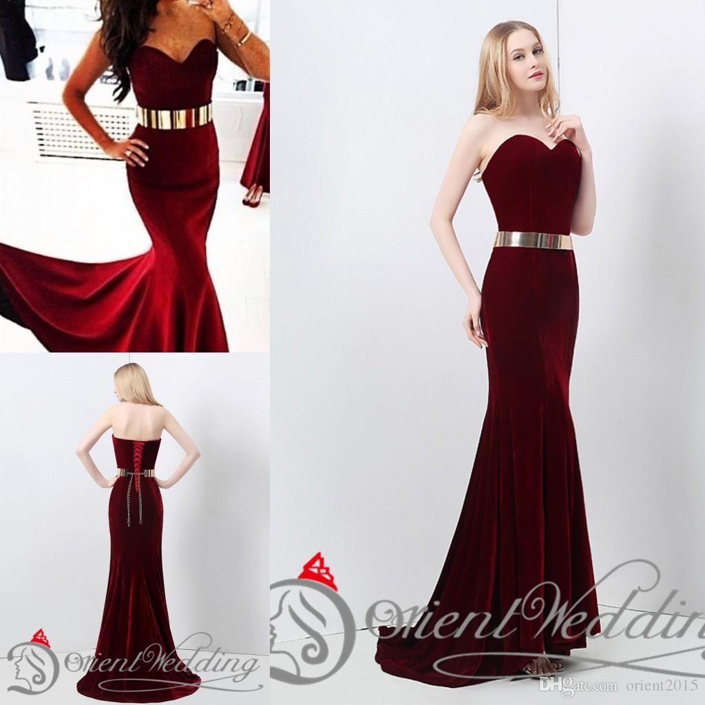 125b018ca516 Instocks Sexy New Wine Dark Red Velvet Mermaid Prom Dresses Floor Length  Gold Belt Inexpensive Evening Gowns 2015 Designer Bridesmaids Dresses  Discount ...