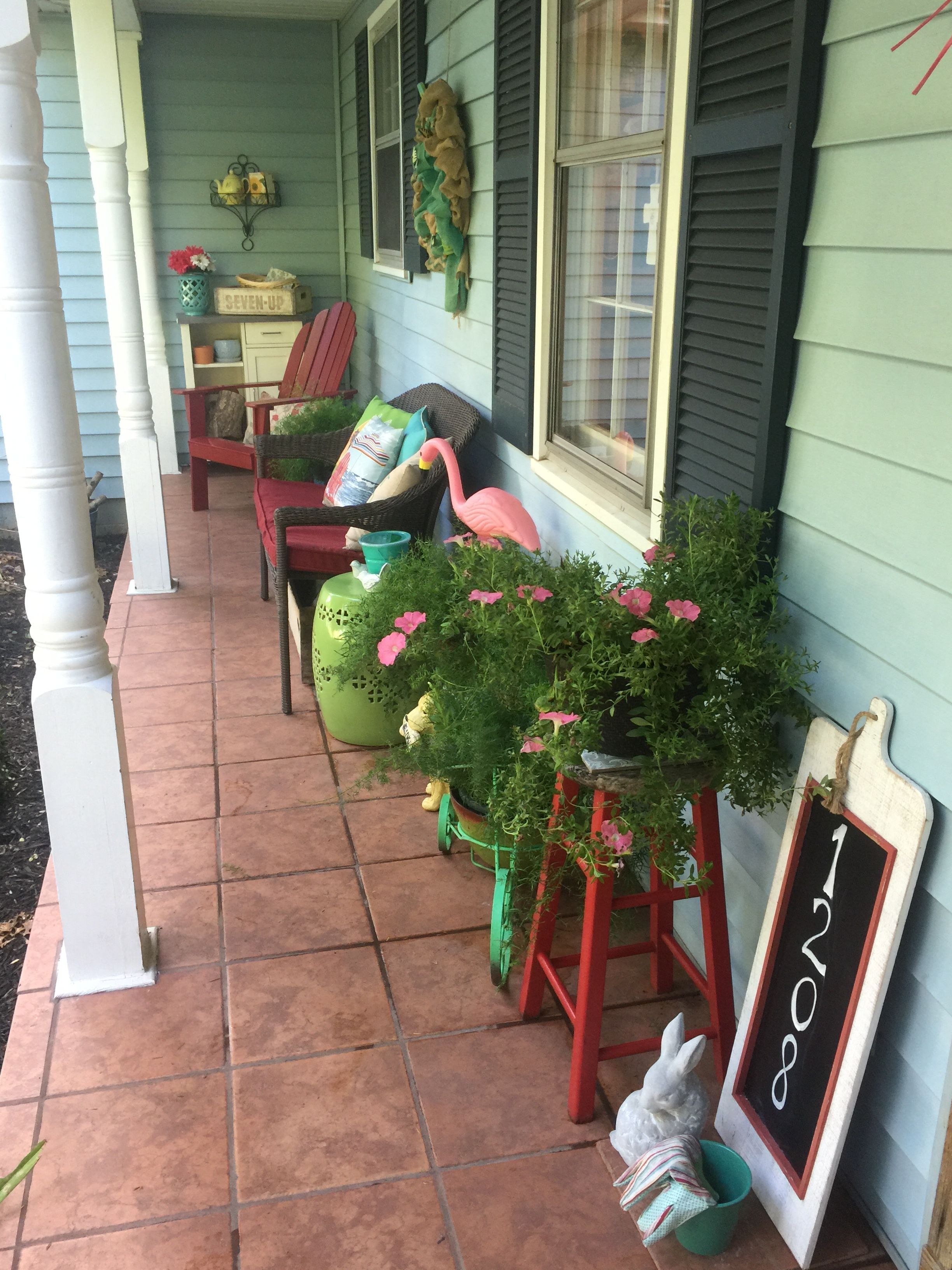 Narrow front porch decorating  Front porch decorating, Porch