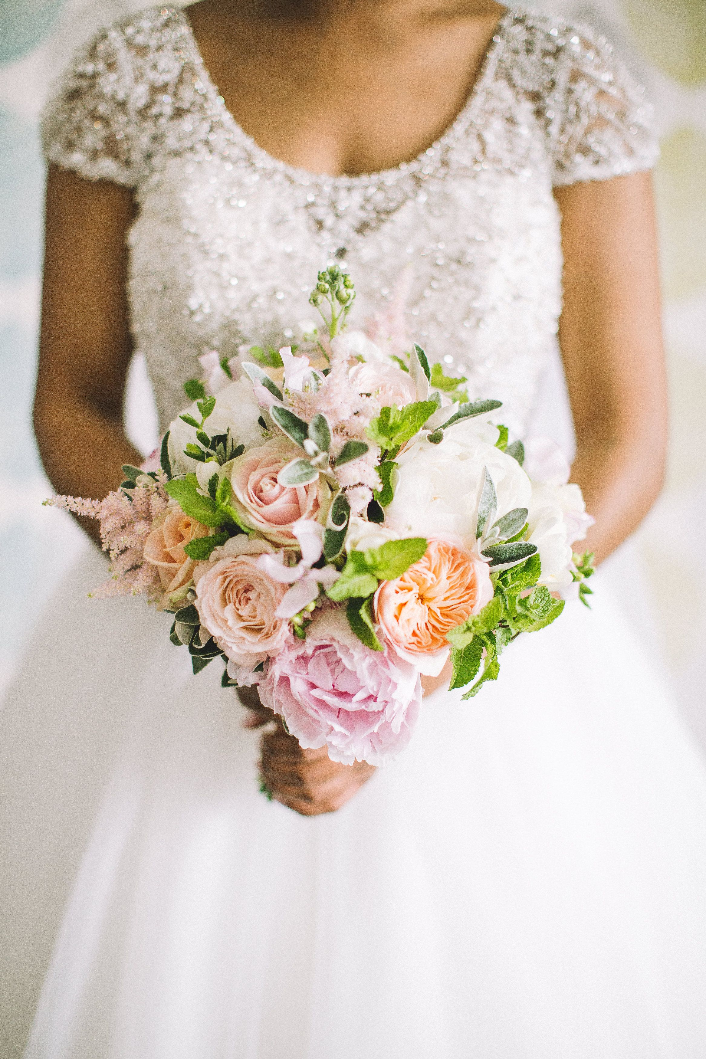 Summer Bridal Bouquet Made Of David Austin Roses Astilbe Peony