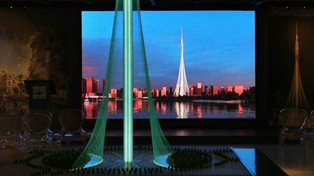A Model Of The Tower Project At Dubai Creek Harbour Development Designed By  Spanish Swiss