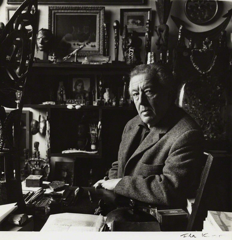 André Breton. Photographed by Ida Kar in 1960. The founding father of Surrealism surrounded by his collection of Tribal Art.