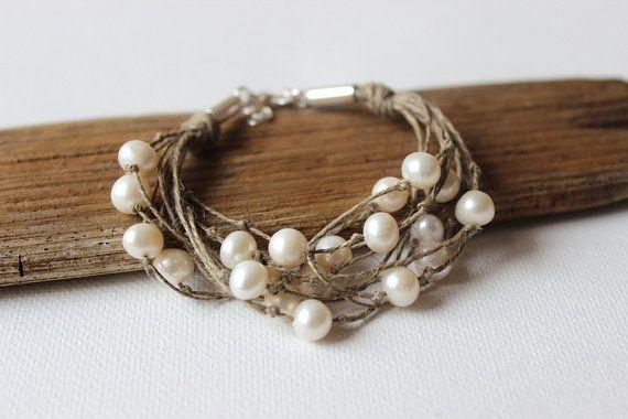 Pearl браслет / органический льняное конопляное браслет / стерлингового серебра свадьба браслет