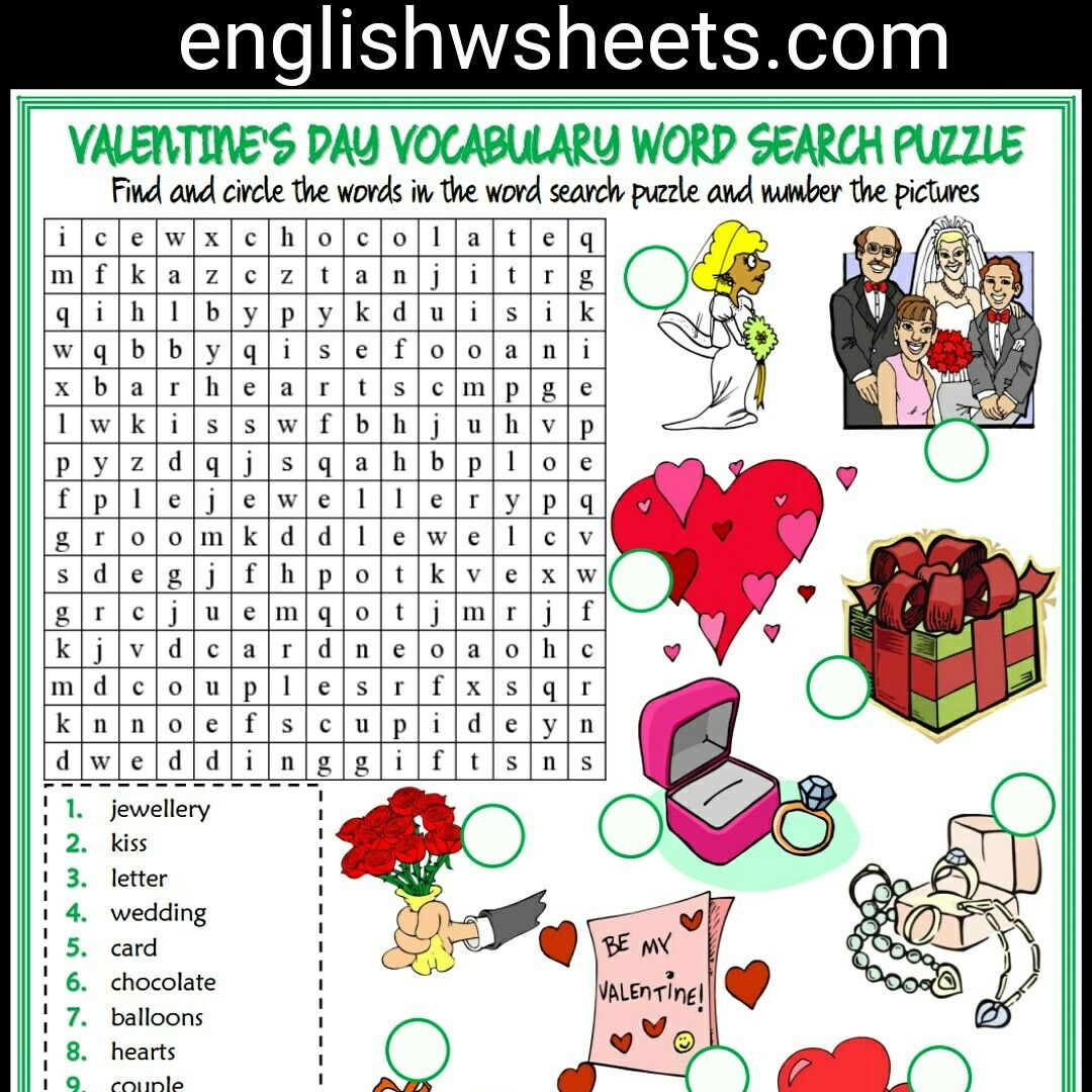 Valentine S Day Esl Printable Vocabulary Worksheets