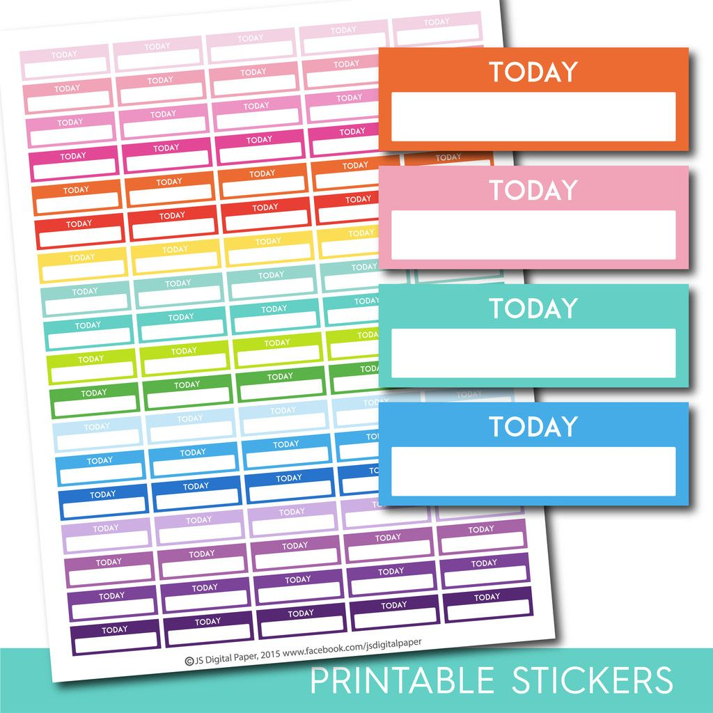 Today stickers, Today planner stickers, Printable today