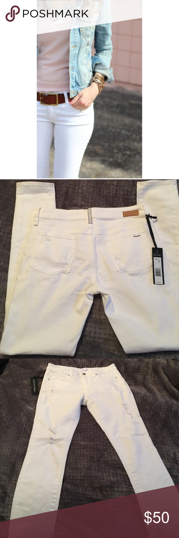 "BNWT White skinny jeans Adorable white skinny jeans with distressing throughout. BNWT! Measurements laying flat: waist :15"", rise:9"", inseam:30"" material 98% cotton, 2% spandex. These are great quality jeans nice and thick with a lot of stretch. Very flattering style and just in time for summer! Exclusive denim created by designers Michael Press and Elie Tahari, so these are amazingly gorgeous high quality jeans! Greywire Jeans Skinny"