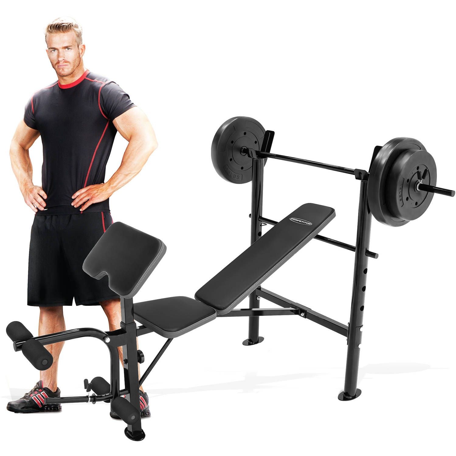 Marcy Competitor Combo Bench With 80 Lbs Weight Set Cb 20110 Deal Best Fitness Equipments