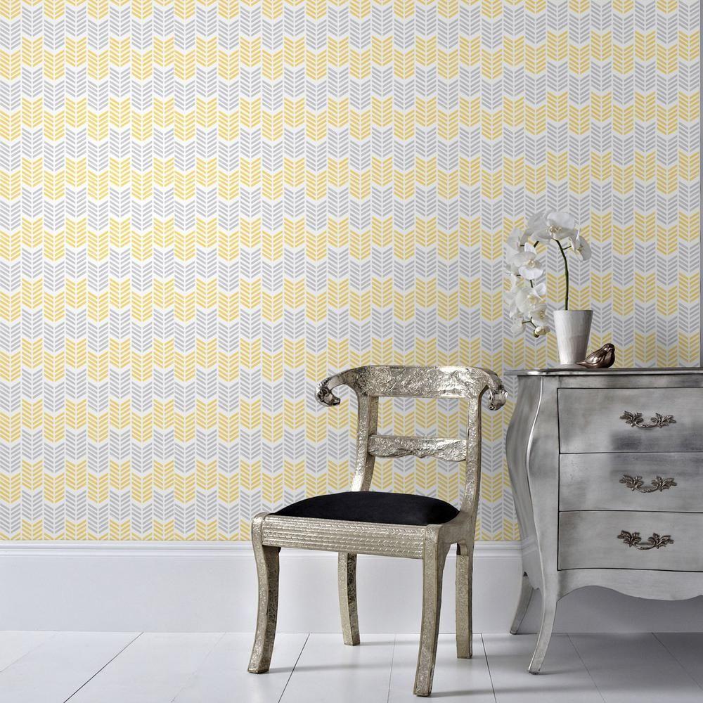 Graham & Brown Symmetry Oiti Yellow Removable Wallpaper