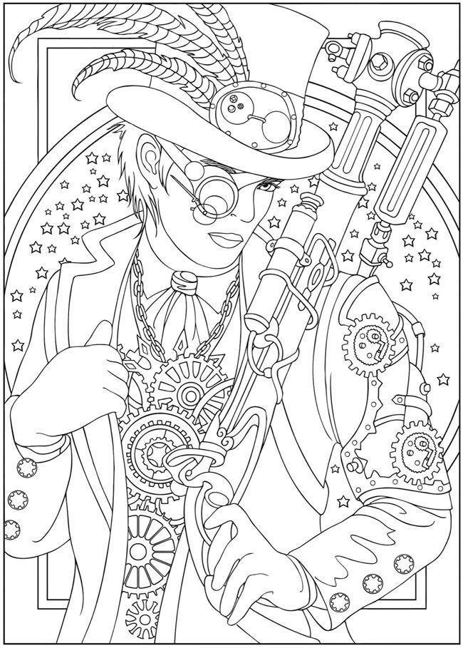 advanced coloring pages for adults steampunk design 2 from dover publications http www