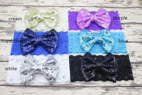 """Lace Headband with big sequence bow.    One Size: 0-12 months. 15""""  Bow Size…"""