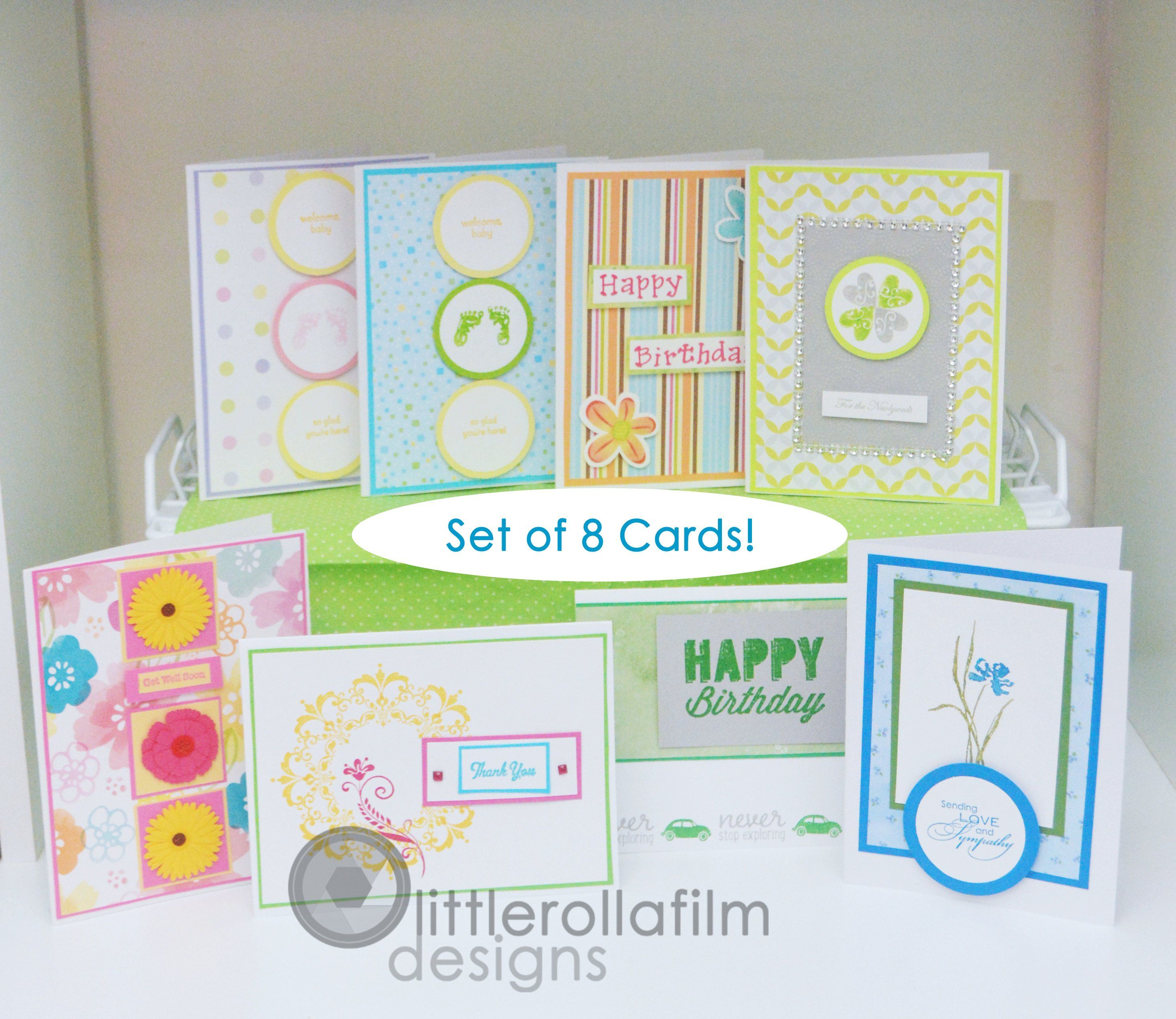 Set Of 8 Assorted Card Package 01 Wedding Birthday Baby Sympathy Thank You Cards By Littlerollafilm On Etsy