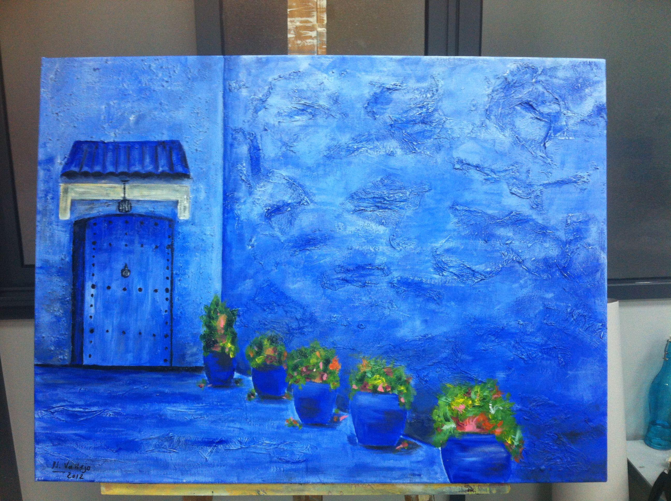 Acr lico sobre lienzo con textura chaouen marruecos - Acrilico sobre lienzo ...