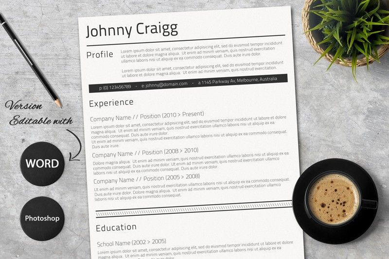 Professional MS Word CV Free cover letter, Resume