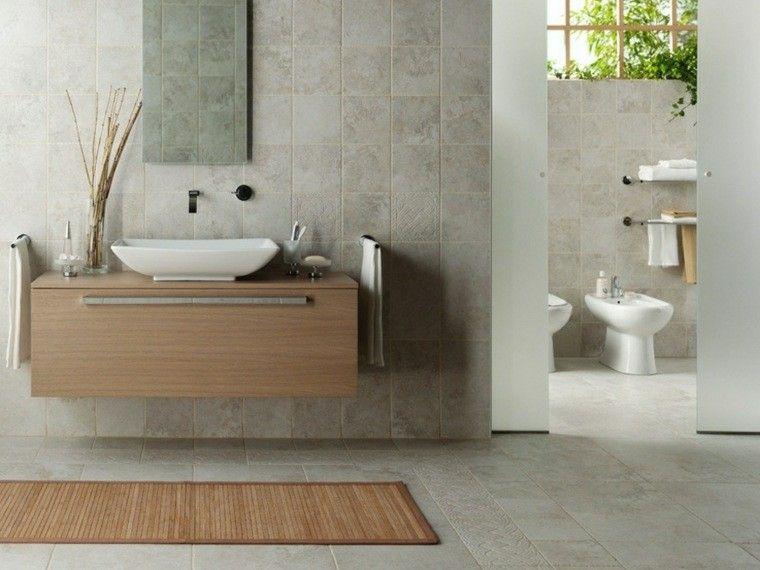lavabo de madera en el bao moderno gris