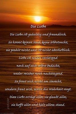 Poster Korinther Liebe Ist Gedicht Reim Sonnenuntergang 61 X