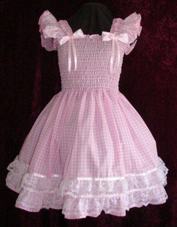 Sundress Gingham Pink Sissy Dress  Lolita Adult Baby Cross Dresser Custom Made