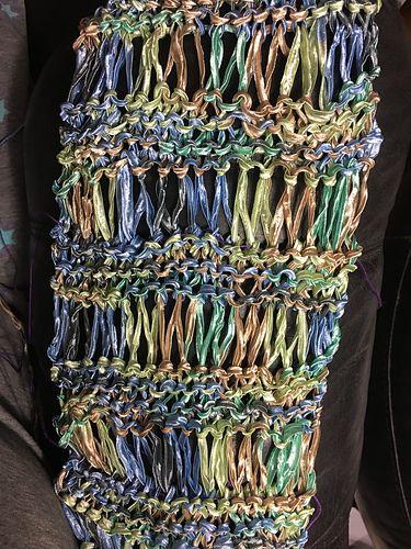Ladder ribbon scarf crochet pattern ribbon yarn pattern