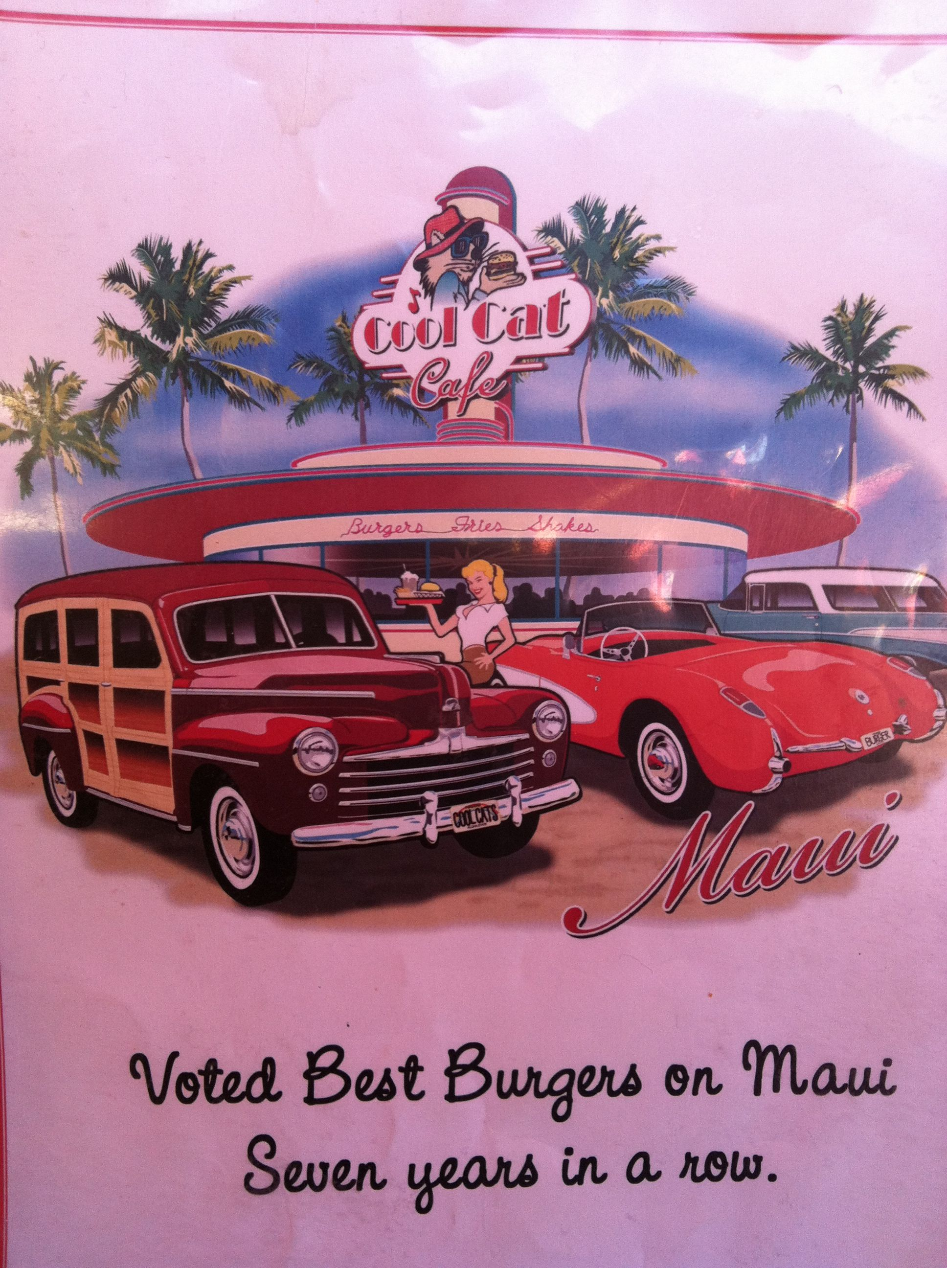 Cool Cat Café in Lahaina, Maui. Best burgers ever made