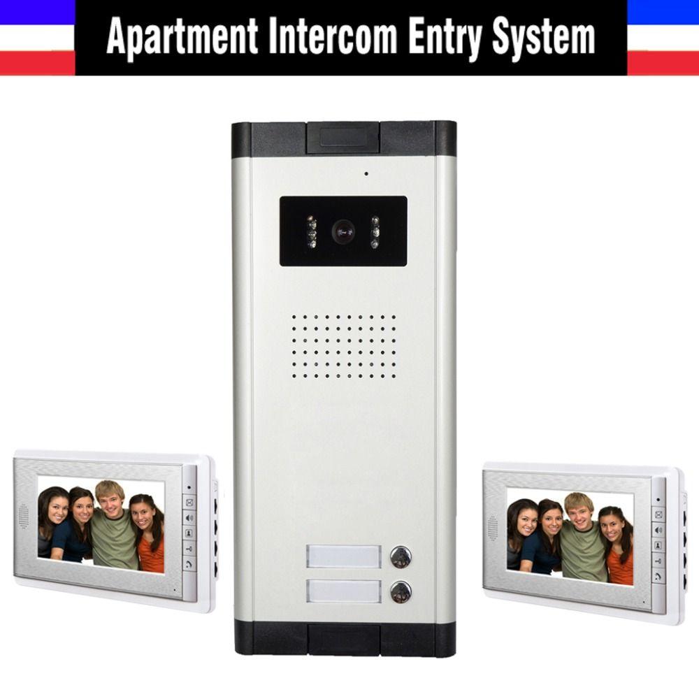 New Apartment Intercom System Video Interphone System Video Doorbell 2 Units Apartment Video Door Phone Intercom Kit 2 Video Door Phone Intercom System Camera