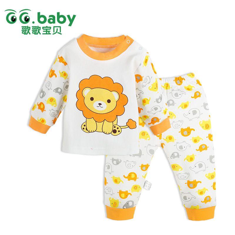 2pcs Autumn Cotton Clothes Set Cartoon Print Baby Kids O-neck Jumper Pants Kit