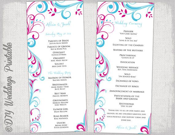 Wedding Program Template Malibu Blue  Begonia Pink Scroll