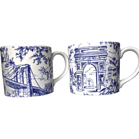 pair of Tiffany's NY Toile Coffee Mugs #huntersalley