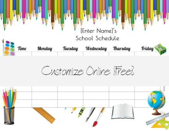 huge selection of free printable school schedule templates and class schedules that can be customized with our free school schedule maker