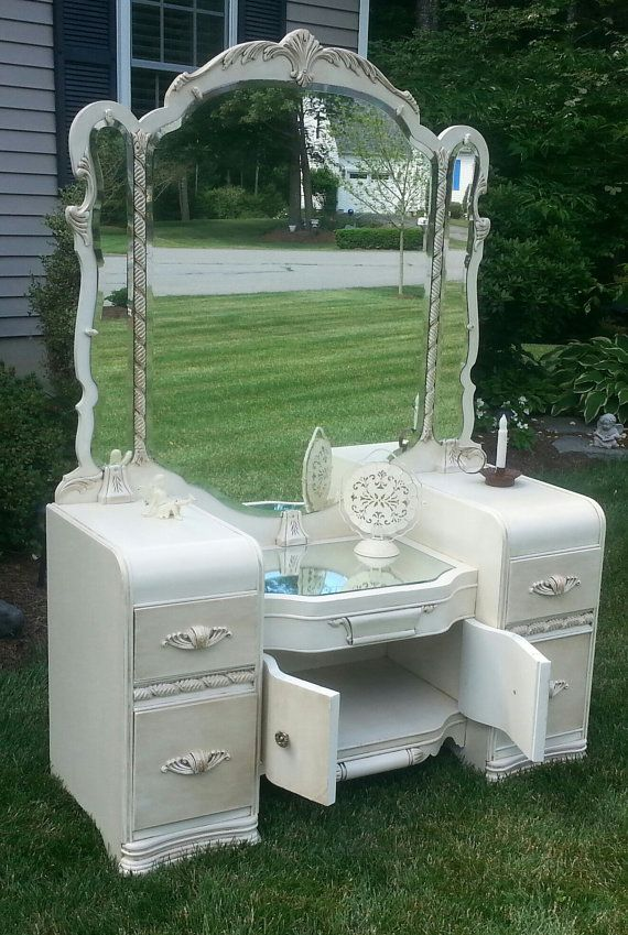 Beautiful Waterfall Style Vintage Vanity Redone By Periwinkles9256 Bed Bath And Kitchens