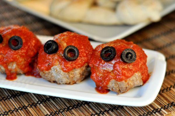 Meaty Eyeballs and Breadstick Bones Recipe Halloween foods