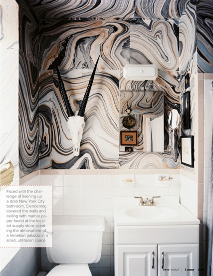 Bathroom Walls And Ceiling Covered With Sheets Of Marble Paper From Art Store Lonny August 2012 Marble Bathroom Designs Stylish Bathroom Tiny Bathrooms