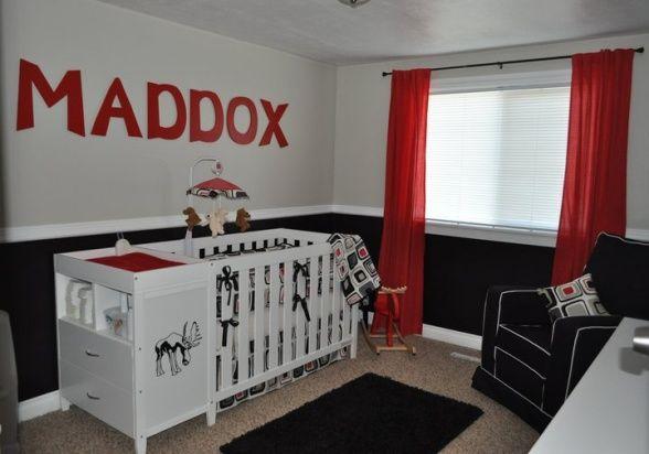 Black White Kids Rooms Red Nursery Room