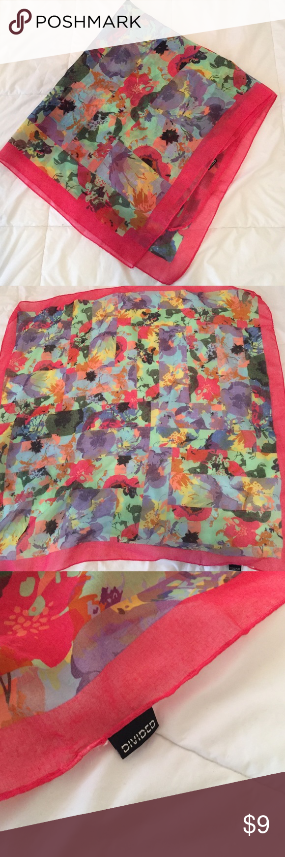 Divided Floral Scarf Lightweight floral scarf with pink trim. Soft! 32in square. Divided Accessories Scarves & Wraps