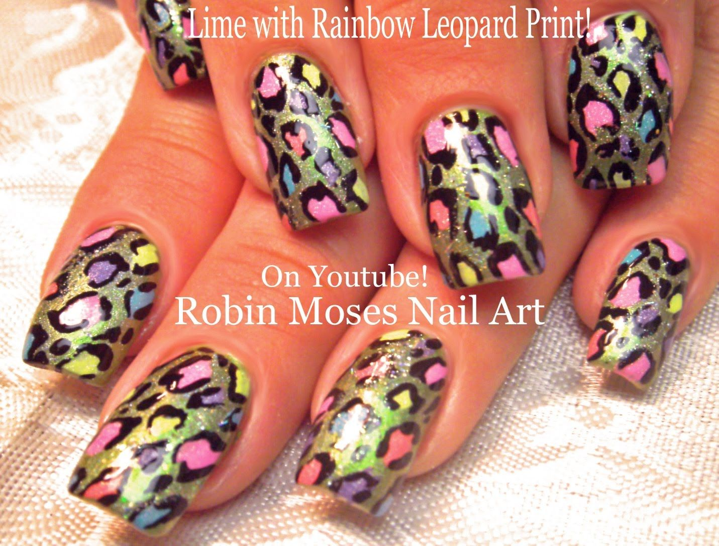 Lime Green With Rainbow Leopard Print Nailart Nails Nail Art