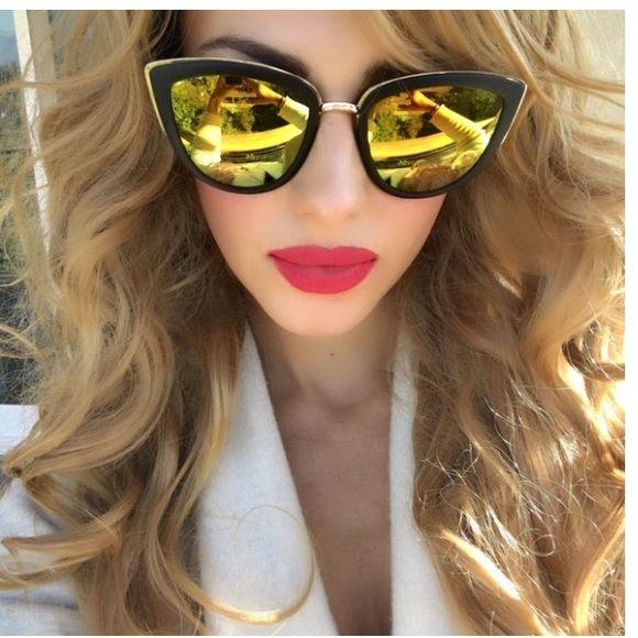 LARGE VINTAGE CAT EYE MIRRORED SUNGLASSES My girl Oversized shiny black cat eye sunglasses. Big cat eye sunglasses with metal bridge. Yellow gorgeous revo mirrored rainbow lenses. 100% UVA/UVB protection. Accessories Sunglasses