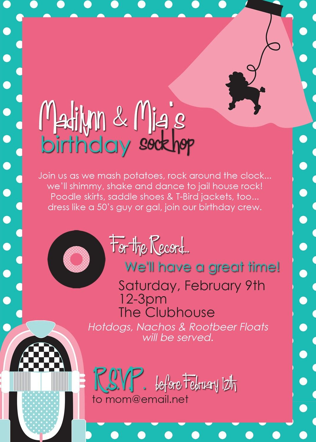 50s party invitation www.tablescapesbydesign.com https://www ...