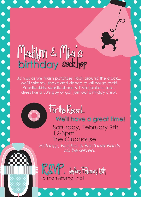Sock hop50s invitations buscar con google grease party bday party ideas stopboris Choice Image