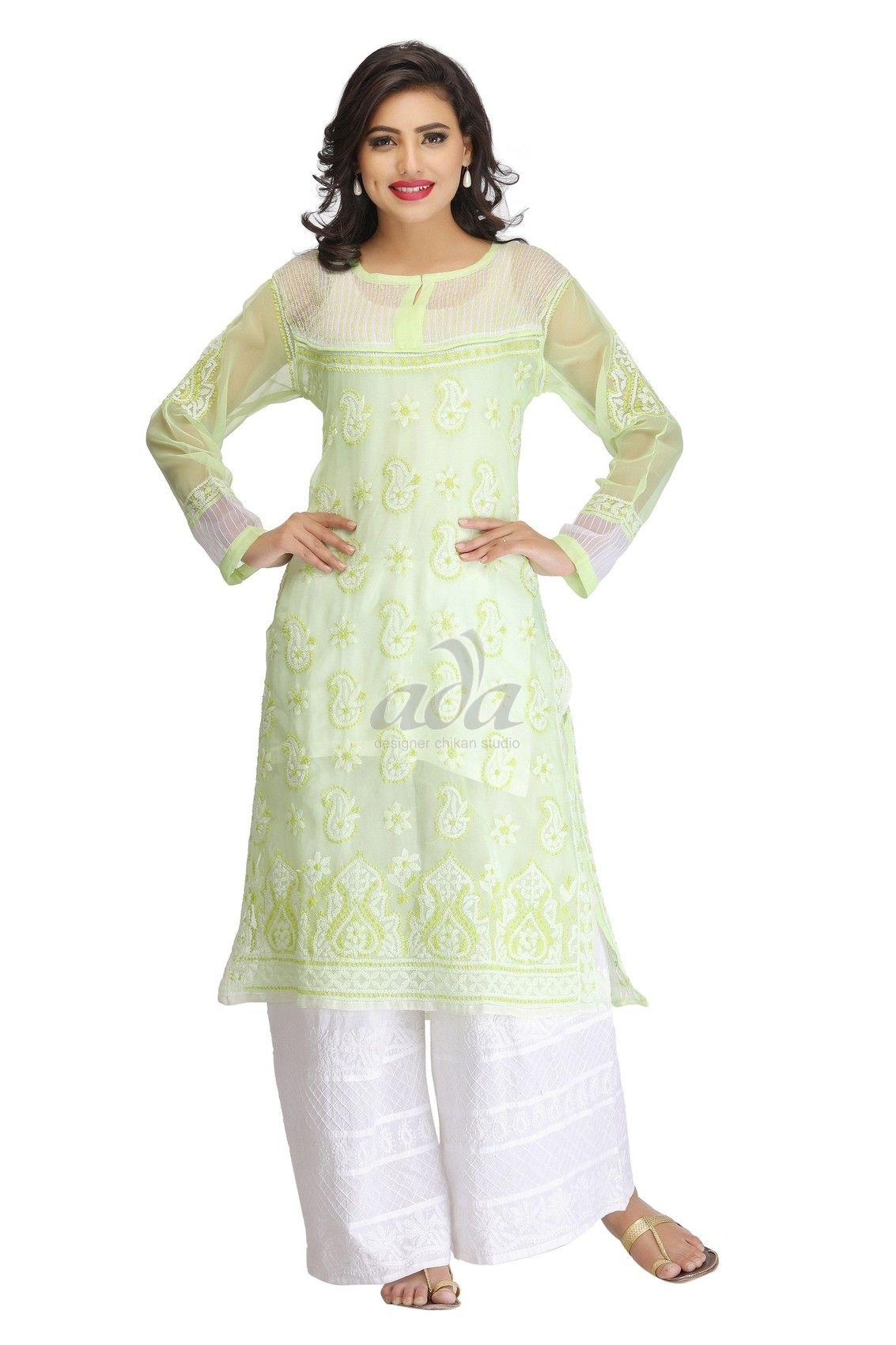 181e753737 Ada Hand Embroidered Green Faux Georgette Lucknowi Chikankari Kurti -  A132981 Price Rs.1,850.00 #Ada_Chikan #chicken kurta online #lucknowi kurta  online ...
