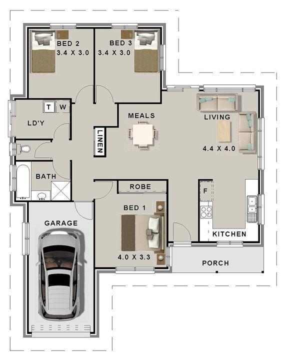3 Bed House Plans Single Garage For Sale 126 M2 3 Bedroom
