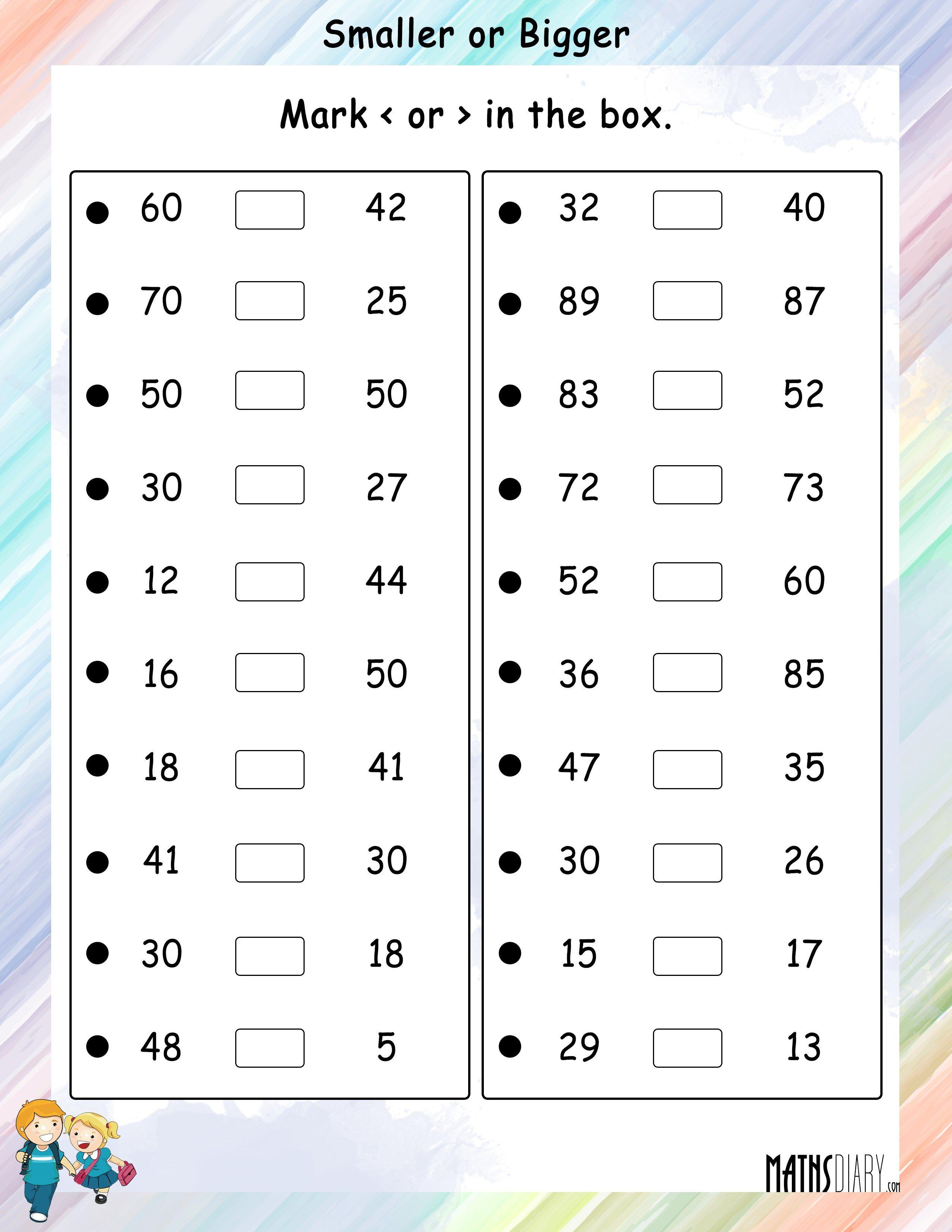 Smaller Or Bigger Number Math Worksheets Mathsdiarycom