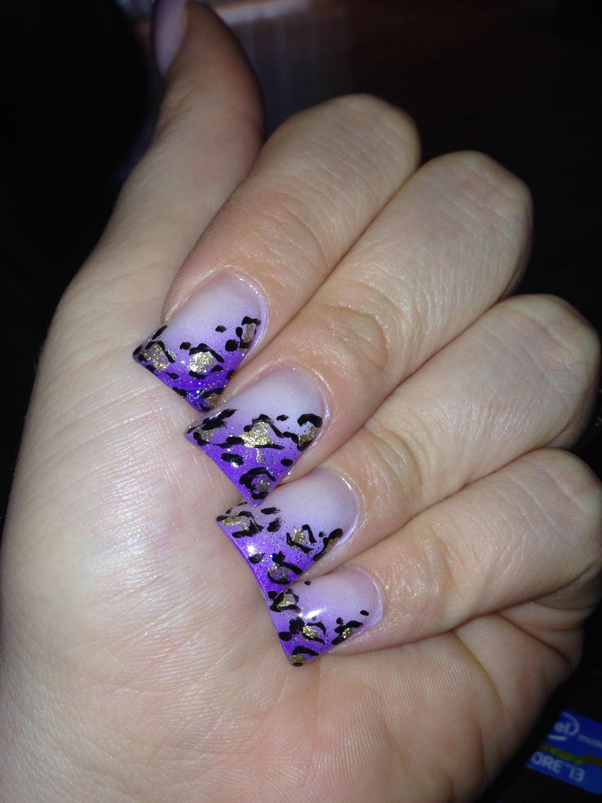 Wide Nails Purple Cheetah Obsessed Pinterest Nails Wide Nails