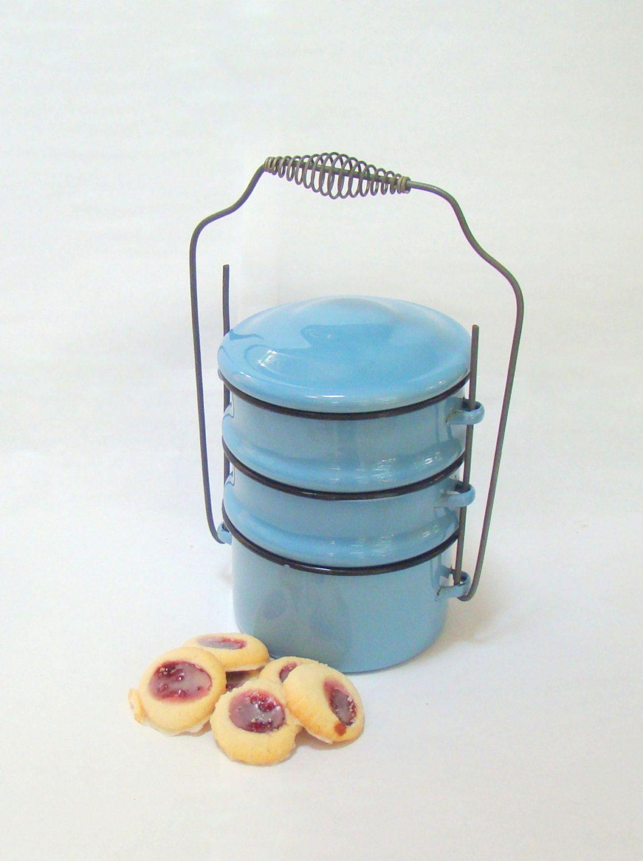 Vintage Blue Enamel Tiffin; Stacking Lunch Box; Vintage Kitchen ...