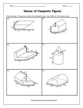 Volume of Composite Figures Worksheet | Triangular prism ...