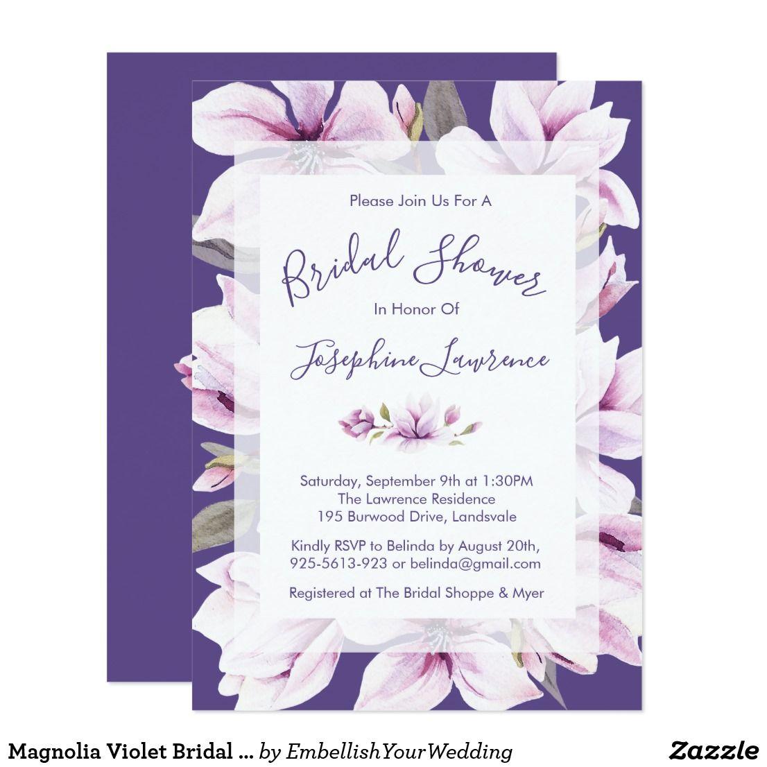 Magnolia violet bridal shower invitation purple wedding succulent ultra violet bridal shower invitation elegant gifts gift ideas custom presents filmwisefo