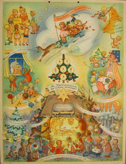 vintage Advent calendar, illus by Charlotte Baron-Raabe, publisher Michel Kunstverlag, Nürnberg
