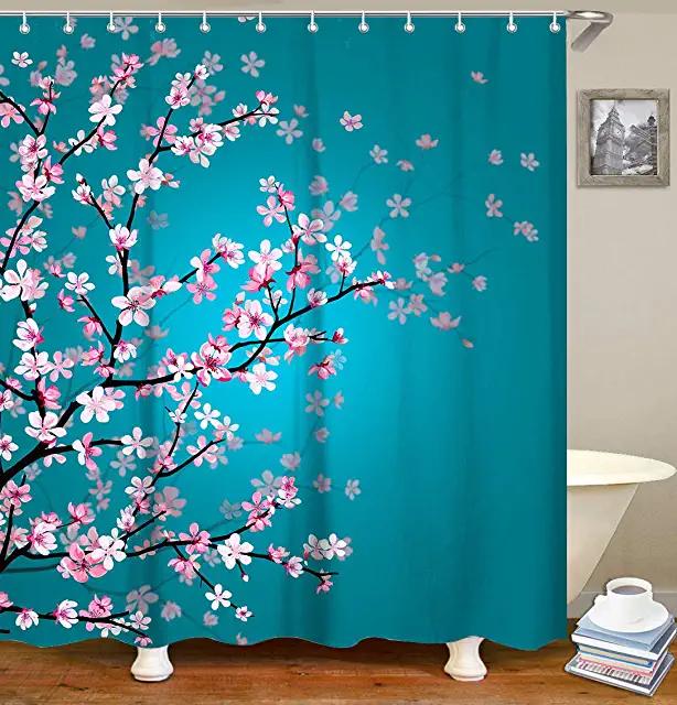 Amazon Com Shower Curtain In 2020 Bathroom Curtain Set Floral Bathroom Turquoise Shower Curtain